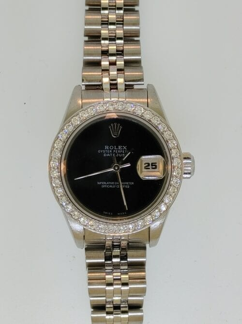Lady Steel Datejust with Diamond Bezel and Black Dial