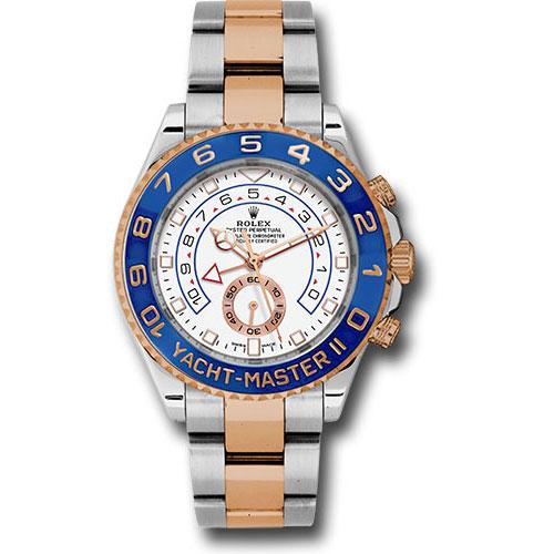 Rolex Style No: 116681 – 18kRose/Steel Yatch-Master II 44 Watch – Matt White Dial with gold Hands